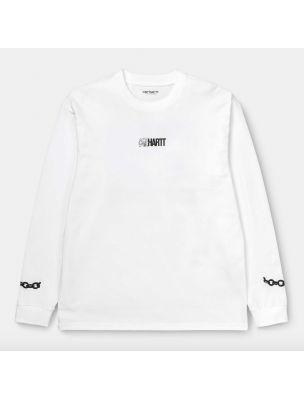 CARHI028501030200 Men's L/S Twisted T-shirt - White - Fabbrica Ski Sises Biella