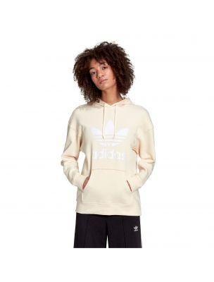 ADIDH33586 Women's Adicolor Trefoil Sweater Cream - Fabbrica Ski Sises Biella