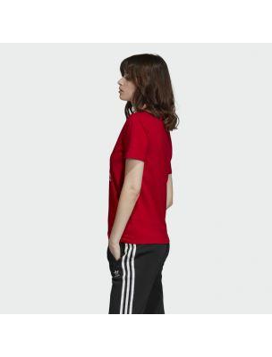 ADIDED7493 T-shirt Trefoil Femme - Rouge - Fabbrica Ski Sises Biella