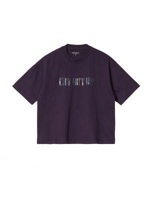 CARHI029651030EO Frau S/S Jagged Script T-shirt Violett - Fabbrica Ski Sises Biella