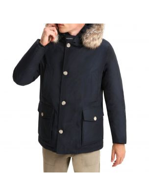 WOOLCFWOOU0484MRUTMB Veste Arctic Detachable Fur Anorak Homme Bleu - Fabbrica Ski Sises Biella